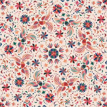 Mexican embroidery seamless pattern
