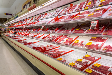 MADISON, NJ, UNITED STATES - FEBRUARY 13, 2014: Meat aisle in an American supermarket. The meat industry in the US is a powerful political force, both in the legislative and the regulatory arena.