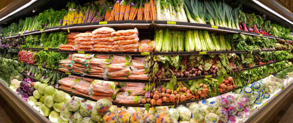 JANUARY 5, 2019 - MADISON, NJ: Panorama of vegetable shelves in the Whole Foods Market. Whole Foods Market is the only USDA Certified Organic grocer in the USA