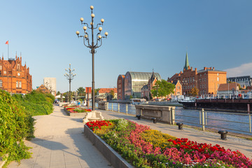 Bydgoszcz. Old Town.  View of the Brda River waterfront and city architecture