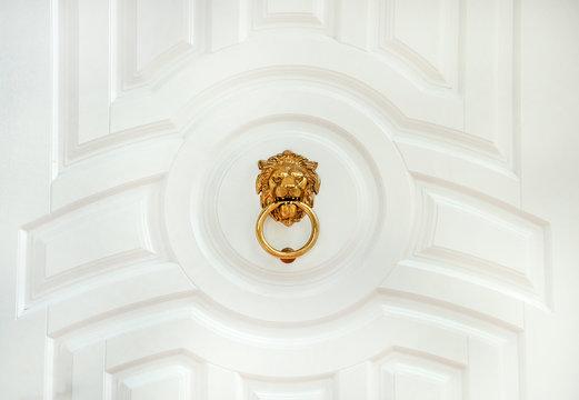 Door knocker with lion. wooden door lion lock. Decorative door handle in form of bronze lion head on white wooden entrance door.