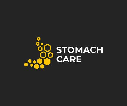 Honey treatment for stomach logo design. Honeycomb stomach vector design. Gastrointestinal tract treatment logotype