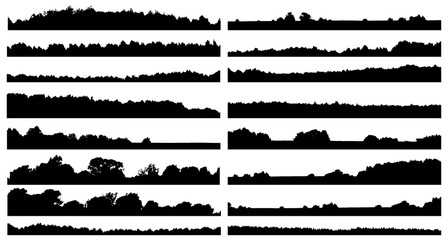 Set of forest isolated silhouettes