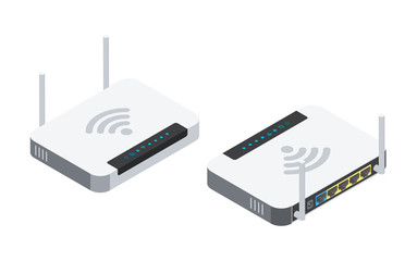 Wi-fi router with two antennas. Isometric illustration with different viewing angles.