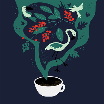 Vector illustration of cup of espresso with fancy scent. The dreams about tropics, equatorial regions where coffee plants are cultivated. Template with toucan,flamingo, parrot for banner, poster,flyer