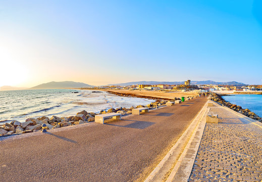 Playa de Los Lances Beach, the Southernmost Point of Continental Europe, with Santa Catalina Castle in the foreground. View from Calle Segismundo Moret street. Tarifa downtown. Cadiz province, Andalus