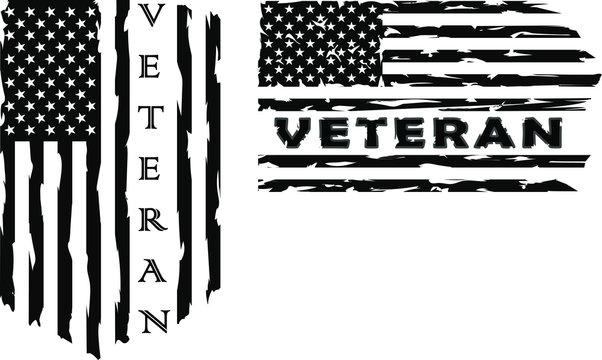 American flag veteran, US Military veteran flag , clipart