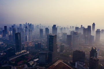 Jakarta city with air pollution at morning Fototapete