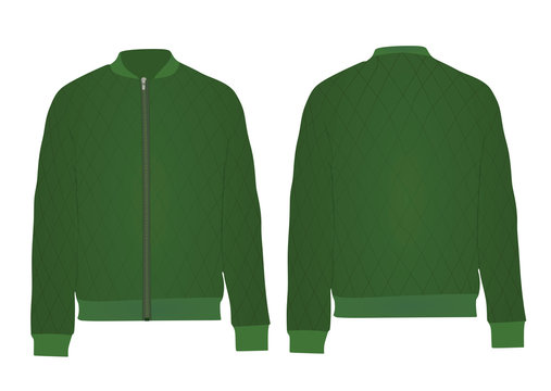 Green autumn jacket. vector illustration