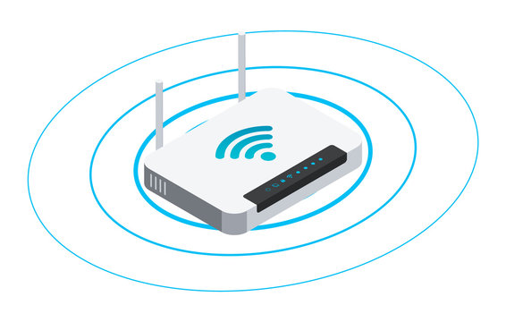 Wireless router in isometric style. Vector illustration of wifi network sharing.