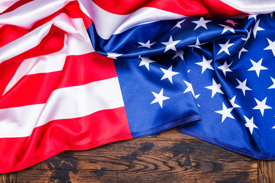 American flag on wooden background