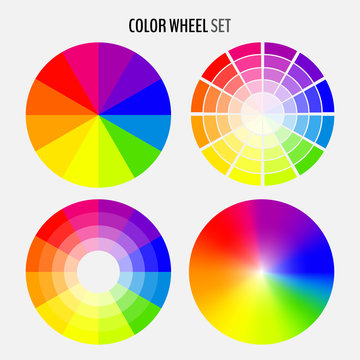 Set of various color wheels