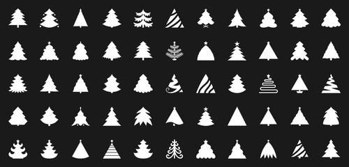 Christmas Tree black flat glyph icons vector set