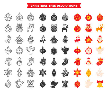 Tree decor christmas ball line flat vector icons