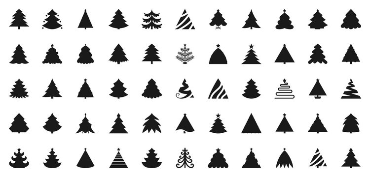 Christmas Tree black flat glyph icons vector set