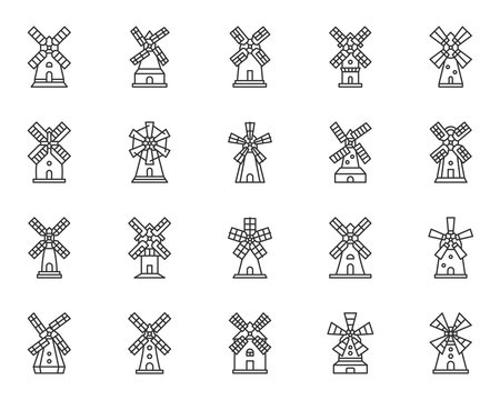 Windmill mill farm simple line icon vector set