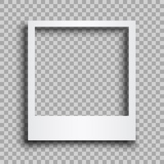 Empty white photo frame with shadows - for stock