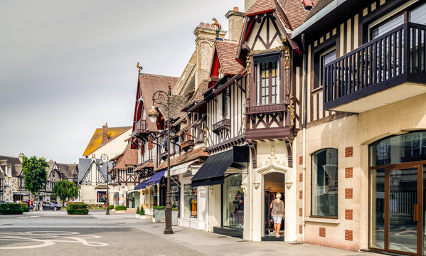 Traditional half-timbered houses on the streets of Deauville, Normandy, France.