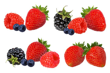 Fototapete - Berries collection. Raspberry, strawberry,blueberry, blackberry  isolated on white.
