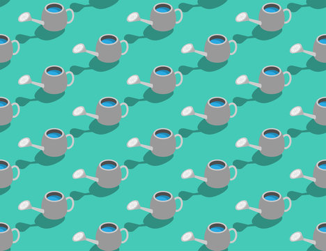 Watering can 3D isometric seamless pattern, Gardening tool concept poster and banner design illustration isolated on green background with copy space, vector eps 10
