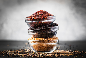 Black, white and red quinoa in bowls, raw quinoa groats set on gray kitchen table, copy space, selective focus