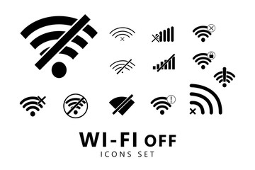 Fototapeta Offline wifi icons set. Wifi off icons. Wi-Fi off icons. Disconnected wireless network icons obraz