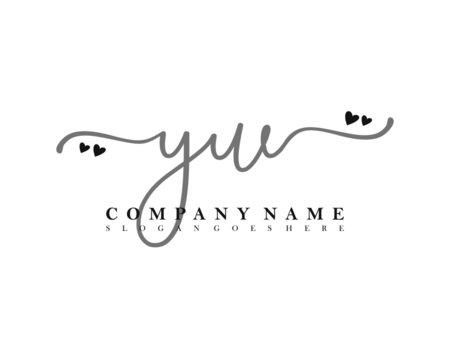 YW Initial handwriting, Feminine logo design template vector
