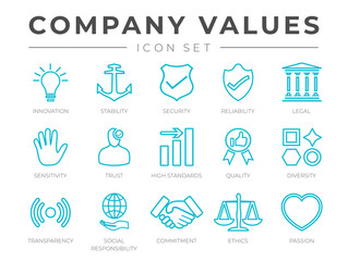 Business Company Core Values Outline Icon Set. Innovation, Stability, Security, Reliability, Legal and Sensitivity, Standard, Quality, Transparency, Responsibility, Commitment, Ethics, Passion Icons.