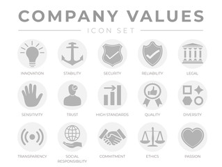 Business Company Values Gray Light Icon Set. Innovation, Security, Reliability, Legal, Sensitivity, Trust, High Standard, Quality, Diversity, Transparency, Responsibility, Commitment, Passion Icons.