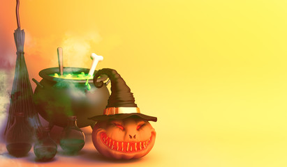 Smiling pumpkin head jack o lantern with witch hat, cauldron, potion, broom,  on orange background. Design creative concept of halloween celebration holiday. 3d rendering illustration.