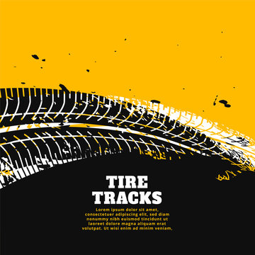 tire tracks print marks on yellow background design
