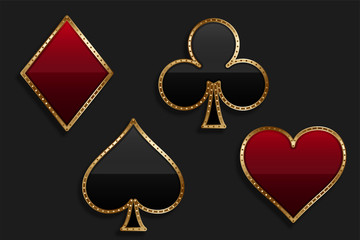 playing card suit symbol in shiny luxury style