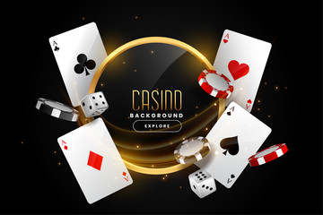 Fototapeta casino background with playing card chips and dice