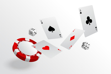 Fototapeta playing cards chips and dice flying casino background