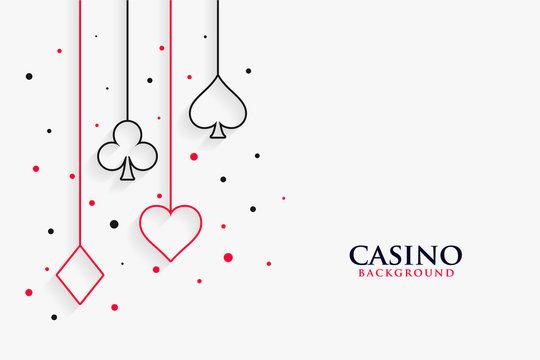 casino playing cards line symbols on white background