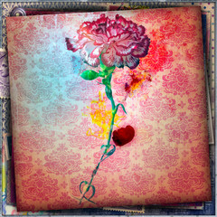 Spoed Fotobehang Imagination Decorative background with red carnation