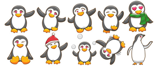 penguin vector set graphic clipart