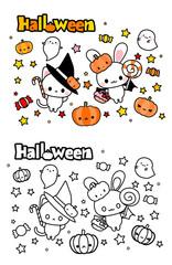 ハロウィン・かわいい魔女のうさぎと猫・カラーと白黒(ぬりえ)素材