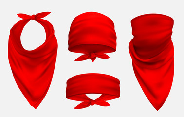 Red bandana realistic 3d accessory illustrations set