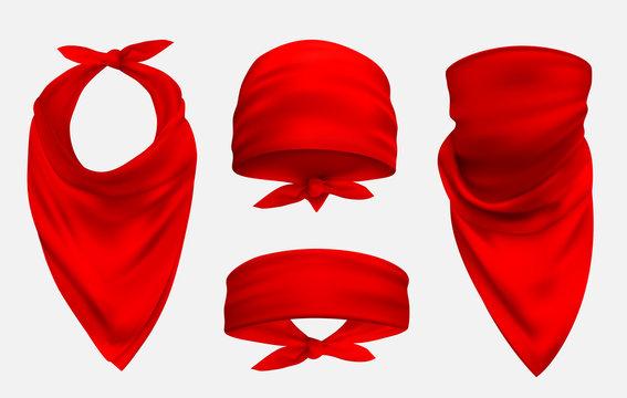 Red bandana realistic 3d accessory illustrations set