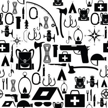 survival kit seamless pattern background icon.