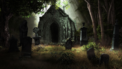 Crypt in the woods Wall mural