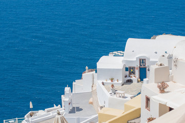 Picturesque view of traditional Santorini streets, Location: Oia village, Santorini, Greece....