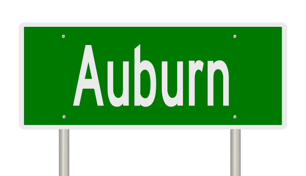 Rendering of a green highway sign for Auburn Alabama