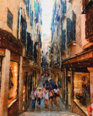 Oil painting colorful old european street view. Digital drawing print for canvas, paper. Contemporary fine impressionism art. Postcard, poster, stationary design. Travel in Europe, beautiful houses.
