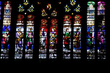 Beauvais. Vitrail de la cathédrale Saint-Pierre. Oise. Picardie. Hauts-de-France