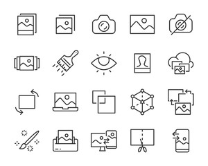 set of image icons, photo, gallery, photo editing