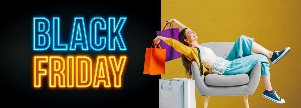 Black friday advertisement with cheerful shopping girl