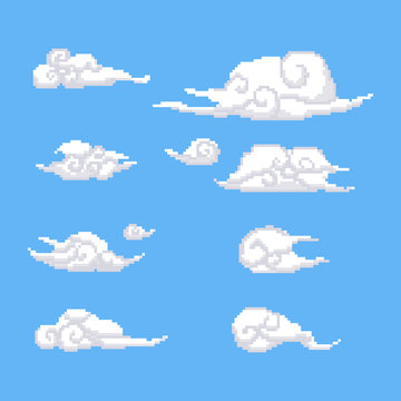 Pixel chinese clouds set.8bit.