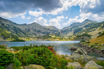 Path between Bezbog lake and hut and the Popovo lake in Pirin national park, near Bansko, Bulgaria